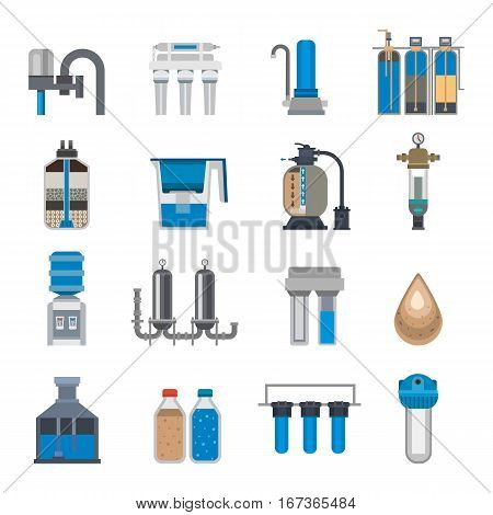 Water purification icon faucet fresh recycle pump set. Wastewater treatment collection. Flat design natural plumbing pipeline industrial plant filtered sign.