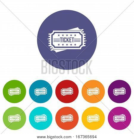 Ticket set icons in different colors isolated on white background