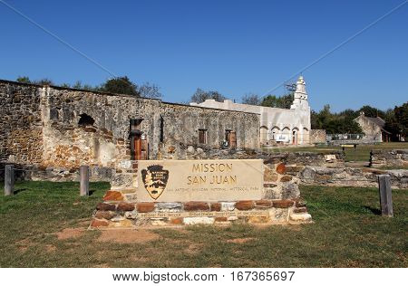 Mission San Juan in San Antonio Missions National Historical Park, Texas