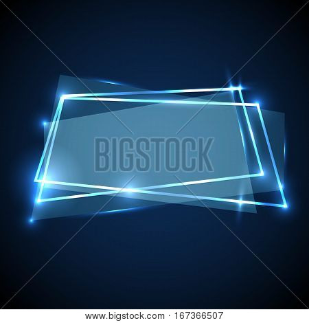 Abstract background with blue neon banner, stock vector
