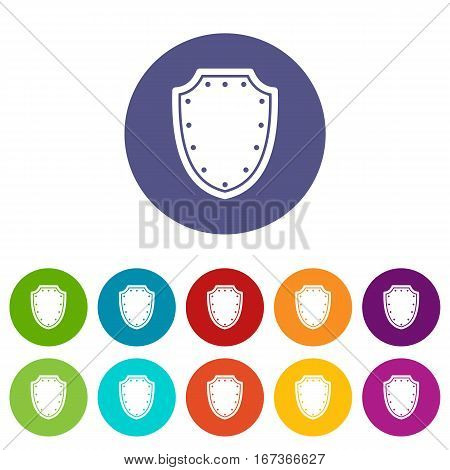 Army protective shield set icons in different colors isolated on white background