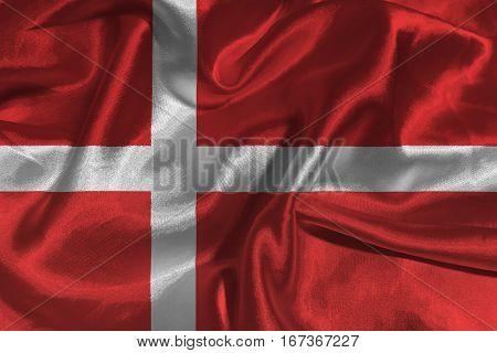 Denmark national flag 3D illustration symbol.  .