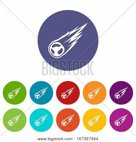 Falling meteor with long tail set icons in different colors isolated on white background