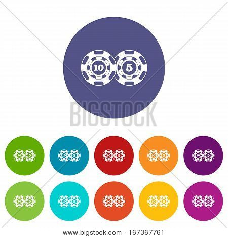 Poker chips nominal five and ten set icons in different colors isolated on white background