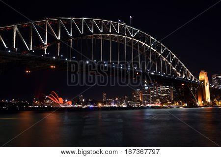Sydney Australia - Jan 28 2017. Chinese New Year celebrations turned Sydney Opera House red to usher in the lunar new year. Year of the Rooster in Chinese Horoscope.