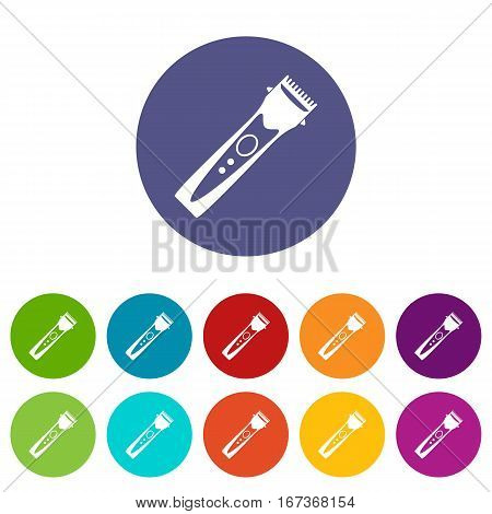 Clipper set icons in different colors isolated on white background