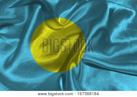 Palau flag ,Palau national flag 3D illustration symbol