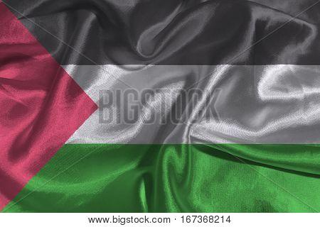 Palestine national flag 3D illustration symbol .