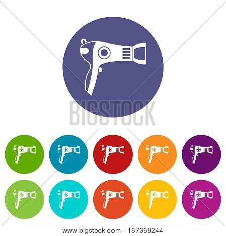 Hairdryer set icons in different colors isolated on white background