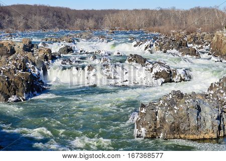 Great Falls National Park in Winter season, Virginia USA
