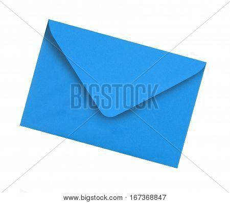 Plain blue envelope isolated on white background
