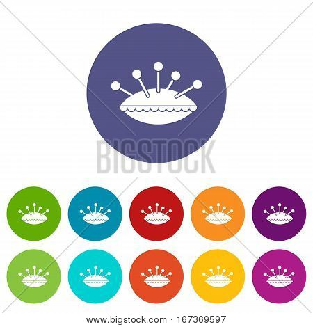 Pillow with needles set icons in different colors isolated on white background