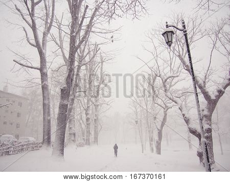 Lonely man walking in a snowstorm. Solitude moment