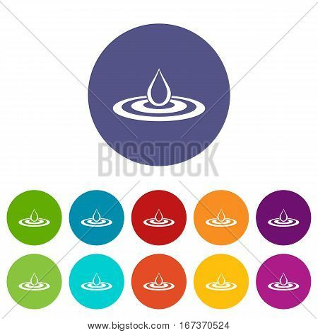 Water drop and spill set icons in different colors isolated on white background