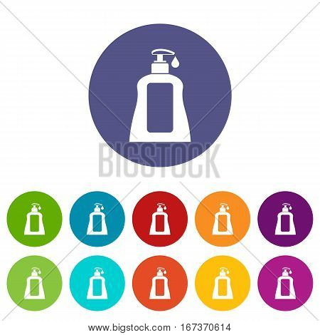 Body care lotion set icons in different colors isolated on white background