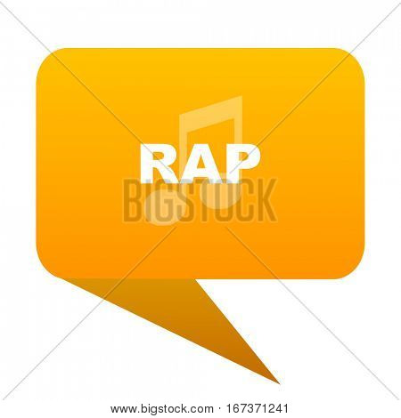 rap music orange bulb web icon isolated.
