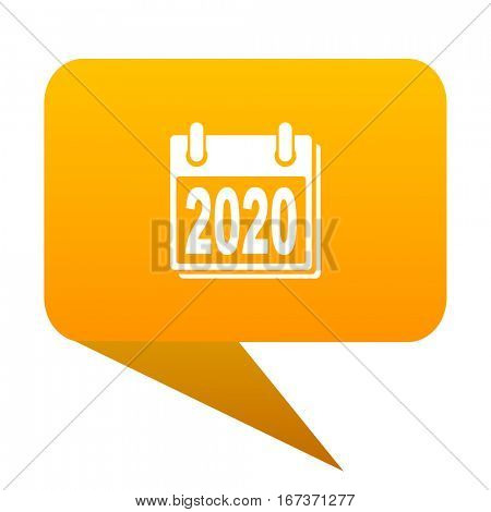 new year 2020 orange bulb web icon isolated.