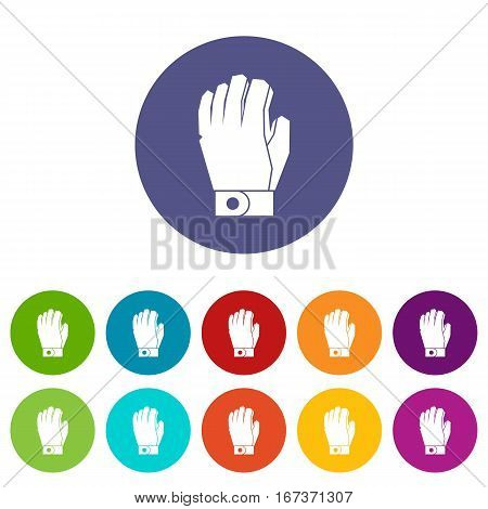 Hockey glove set icons in different colors isolated on white background
