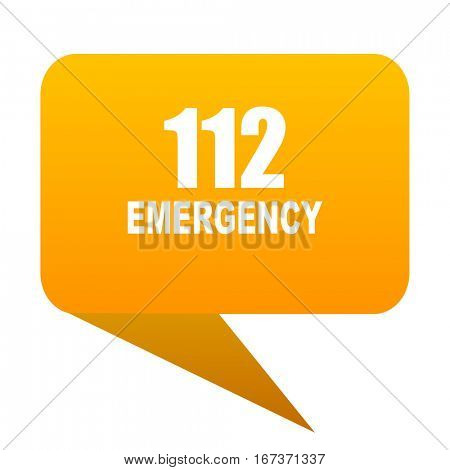 number emergency 112 orange bulb web icon isolated.