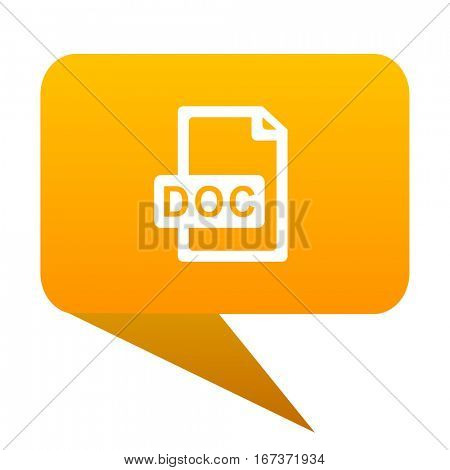 doc file orange bulb web icon isolated..