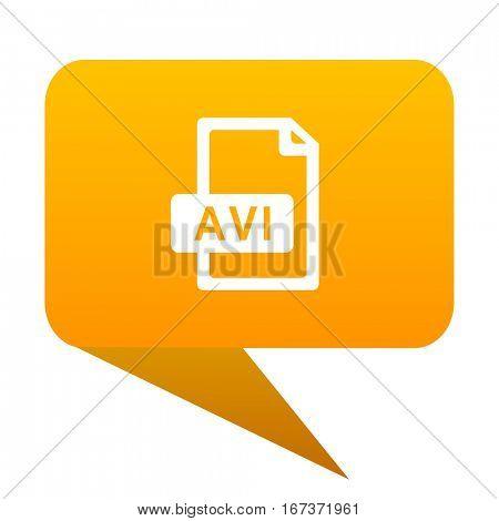 avi file orange bulb web icon isolated..