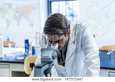 scientist with equipment and science experiments ,Laboratory glassware containing chemical liquid, science research, science background and science concept and selective focus.