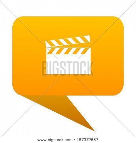 video orange bulb web icon isolated.