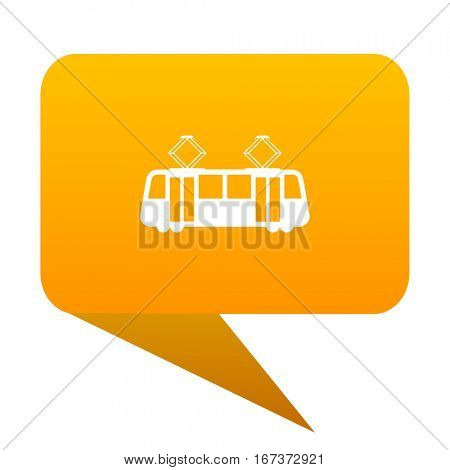 tram orange bulb web icon isolated.