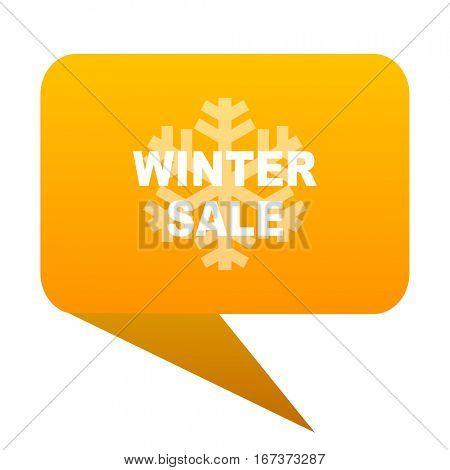 winter sale orange bulb web icon isolated.