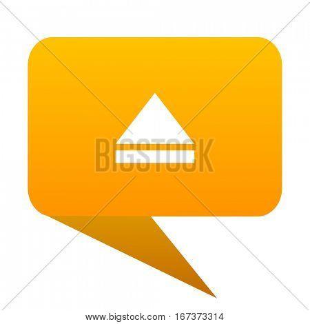 eject orange bulb web icon isolated.