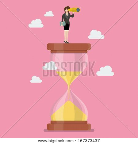 Business woman with monocular on sandglass. Recruitment concept