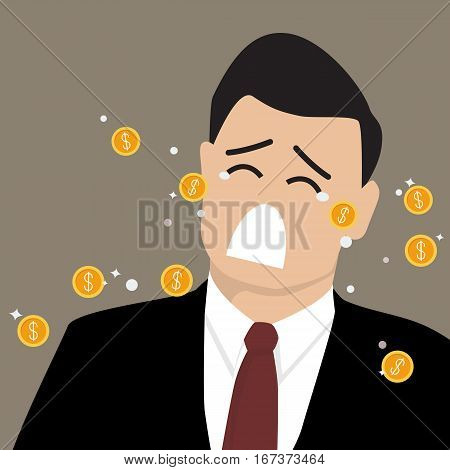 Businessman crying out in money tears. Business concept