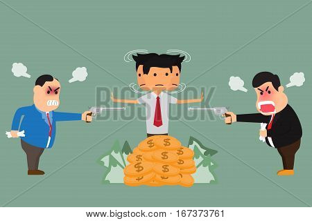 Businessman brawl and directors in the middle. badly business concept vector illustration.