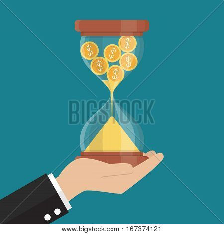 Money in sandglass. Recession or financial loss concept