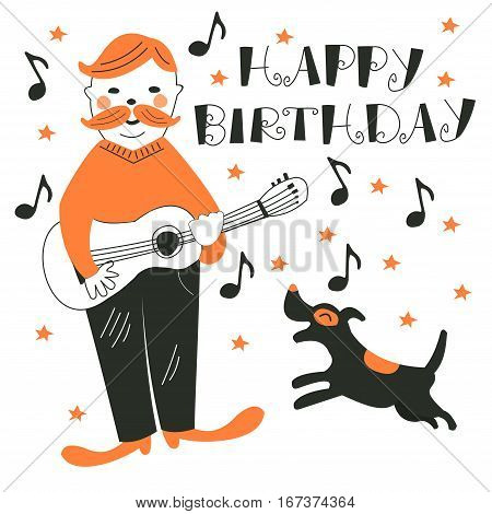 Cute vector card. Cartoon characters - the musician and the dog. Greeting card