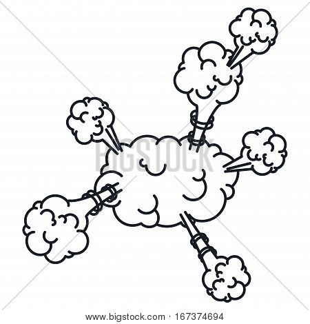 explosion steam cloud with cumulus vector illustration