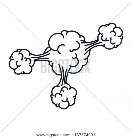 contour explosion steam cloud with cumulus vector illustration