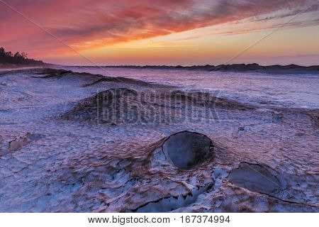 Winter Sunset On A Lake Huron Shoreline