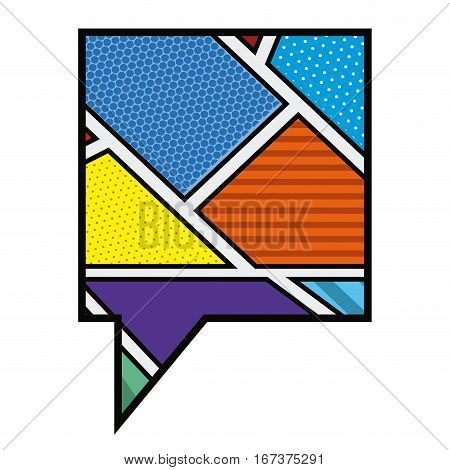 colorful square callout in pop art vector illustration
