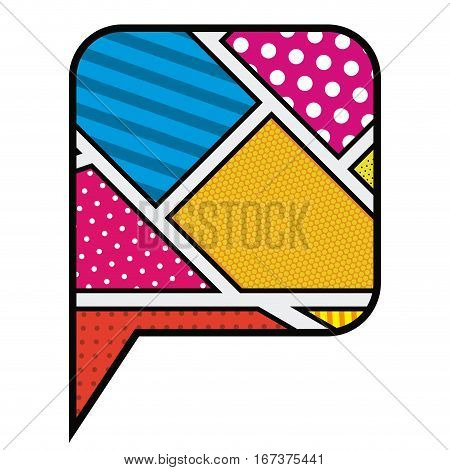 colorful rounded square callout in pop art vector illustration