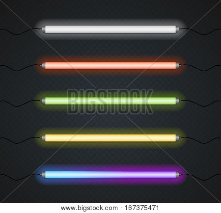 Color Neon Line Lamp Tube Set on Black Background Night Glow Decoration. Vector illustration