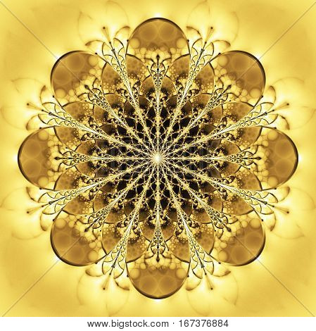 Abstract Exotic Golden Flower. Psychedelic Mandala Design In Bright Yellow And White Colors. Fantasy
