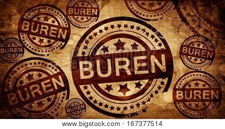 Buren, vintage stamp on paper background