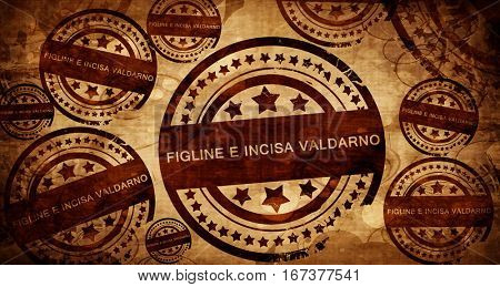 Figline e incisa valdarno, vintage stamp on paper background