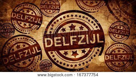 Delfzijl, vintage stamp on paper background