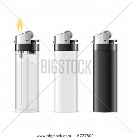 Realistic Template Blank Lighter Black, White and Transparent Set Tool for Smoker. Vector illustration
