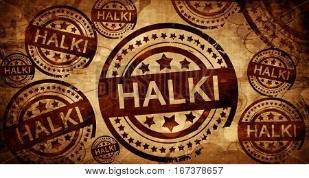 Halki, vintage stamp on paper background