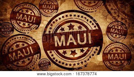 Maui, vintage stamp on paper background