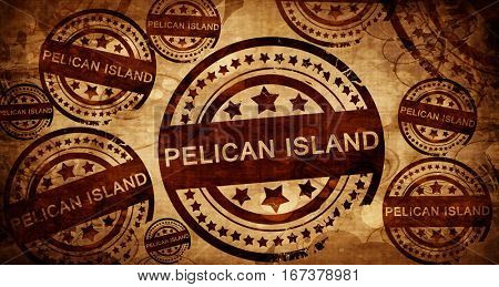 Pelican island, vintage stamp on paper background