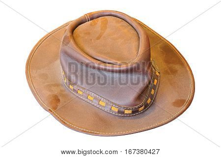 old dusty hat made of real leather isolation over white background